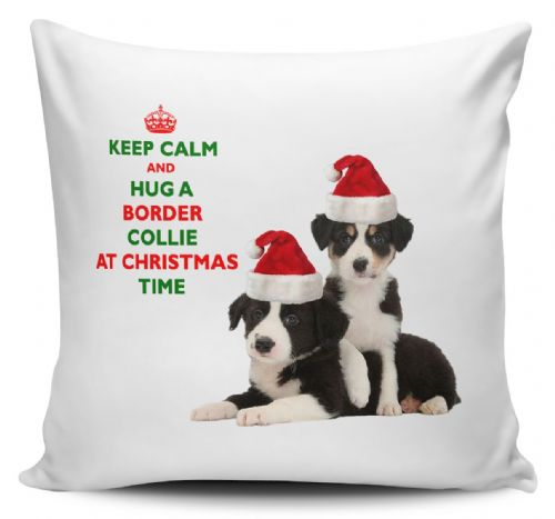 Christmas Keep Calm And Hug A Border Collie Novelty Cushion Cover